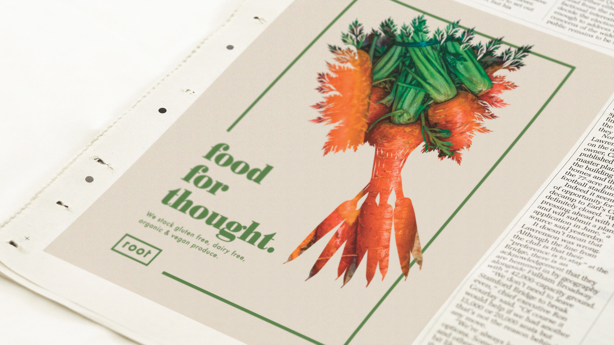 Root. Pop-up health food store. on Behance