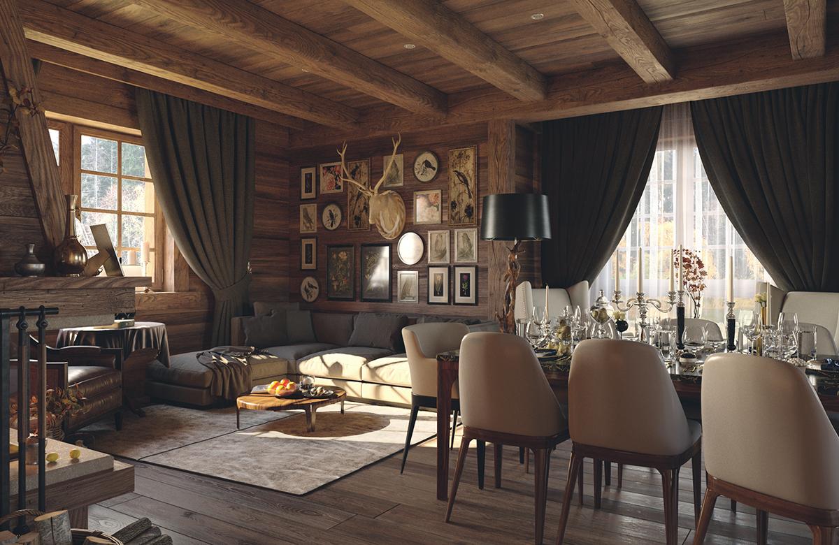 architectural design interior design  design visualization 3ds max corona renderer chalet house wood