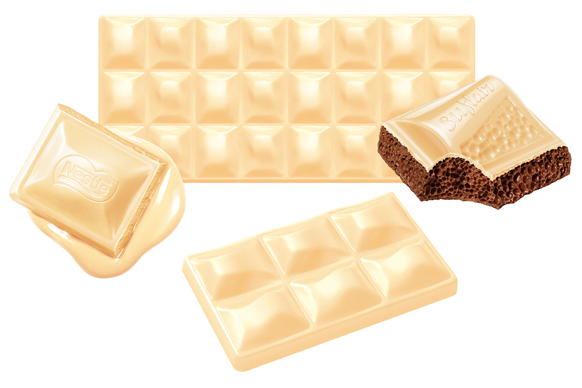 Super realistic photographic illustration of Nestlé white and milk chocolate bars.