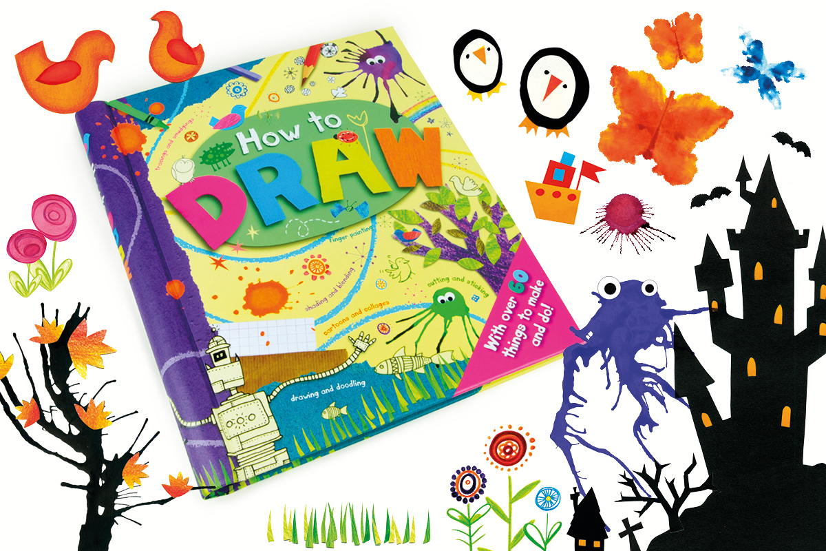 Childrens craft book illustrations by illustrator Fiona Gowen. Featuring ink splat monsters, Penguins. castle and birds