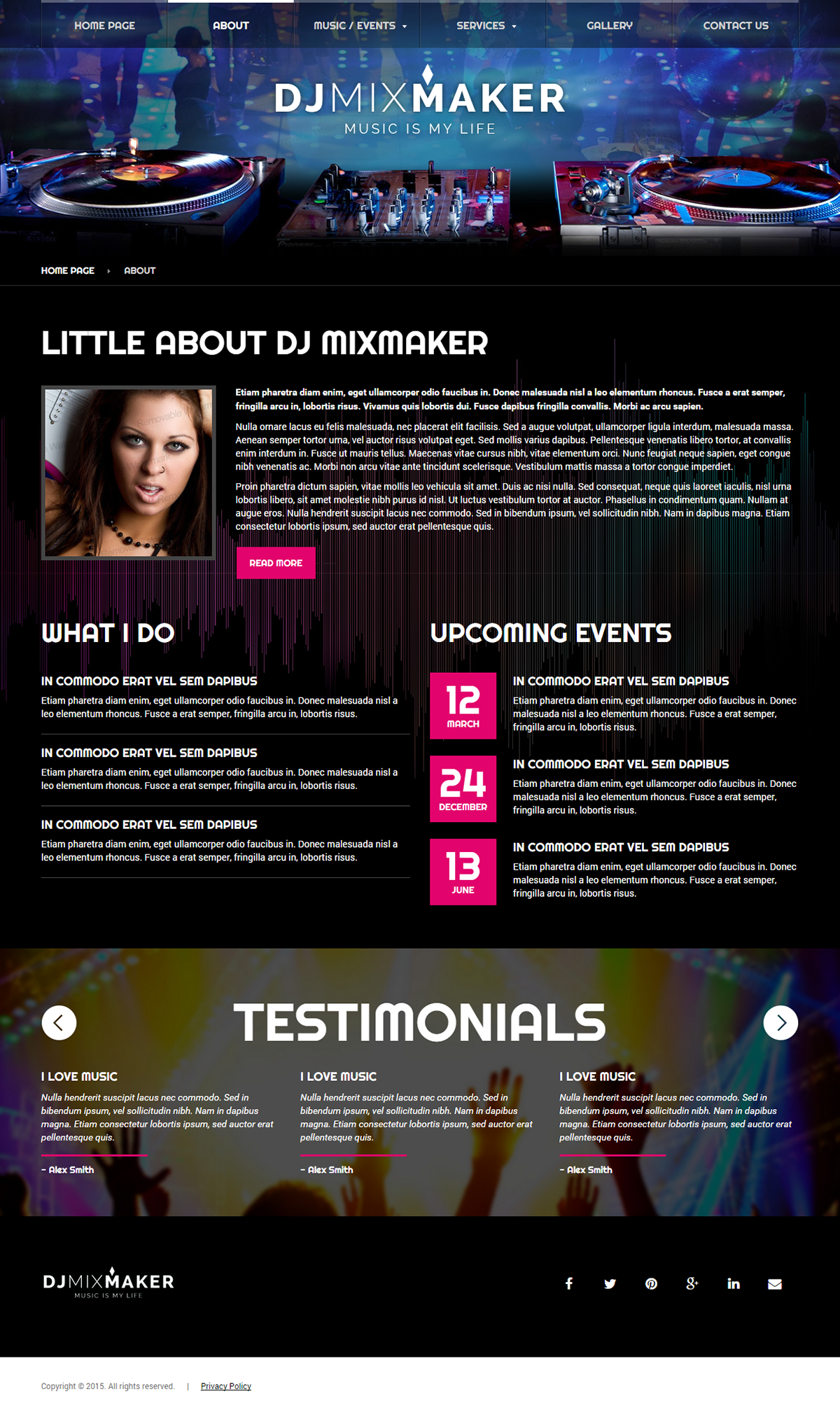 DJ Music HTML Template On Behance - Dj website templates