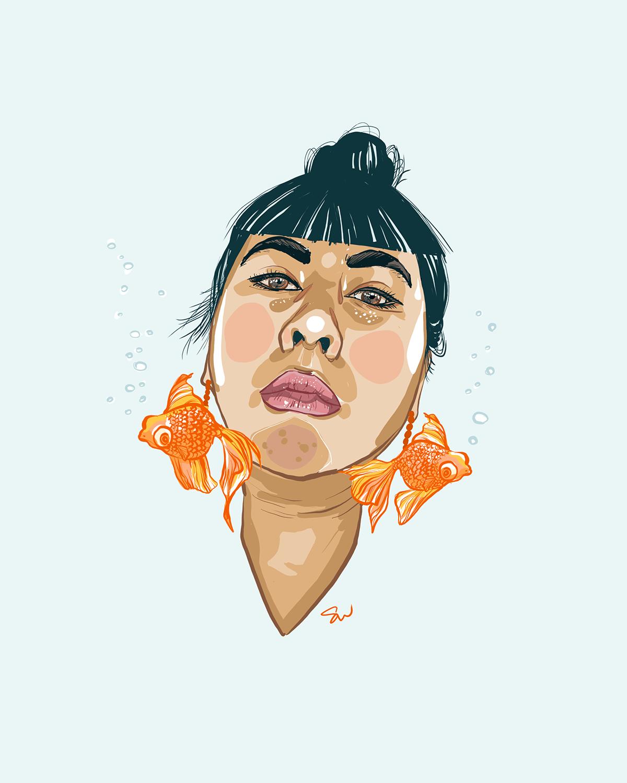 portrait of a vietnamese woman wearing goldfish earrings