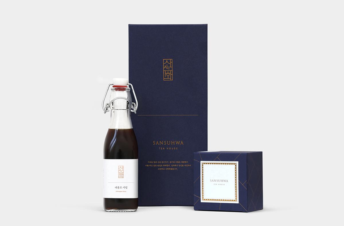 Sansuhwa teahouse Teahouse Branding korean Korean tea Hangul Hangul Typography oriental IF Award award minimal simple