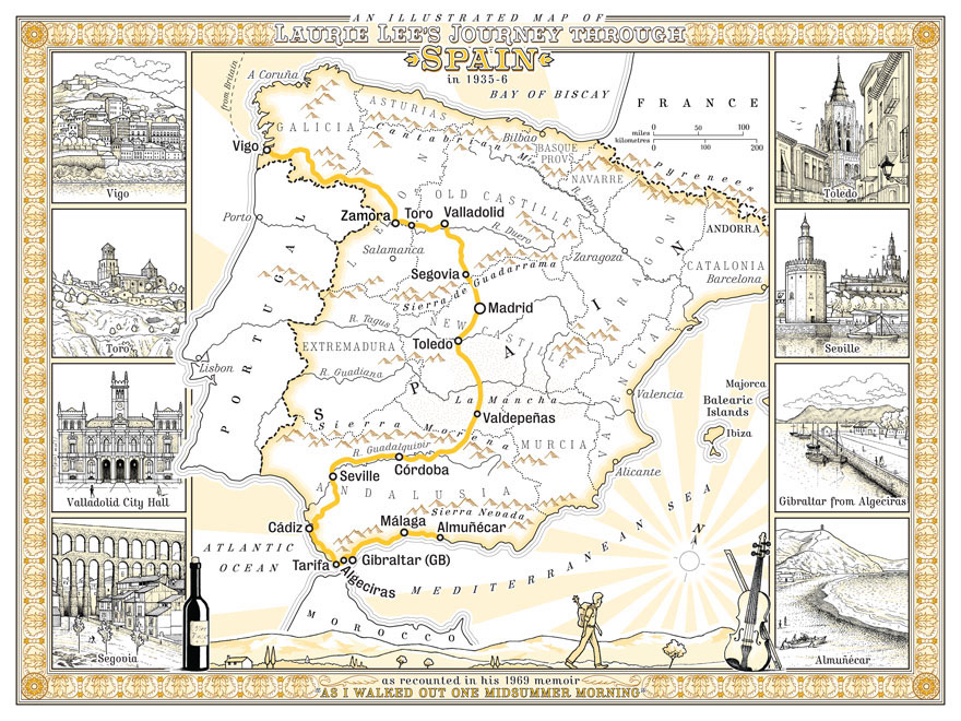 Illustrated map of Laurie Lee\'s journey across Spain on Behance