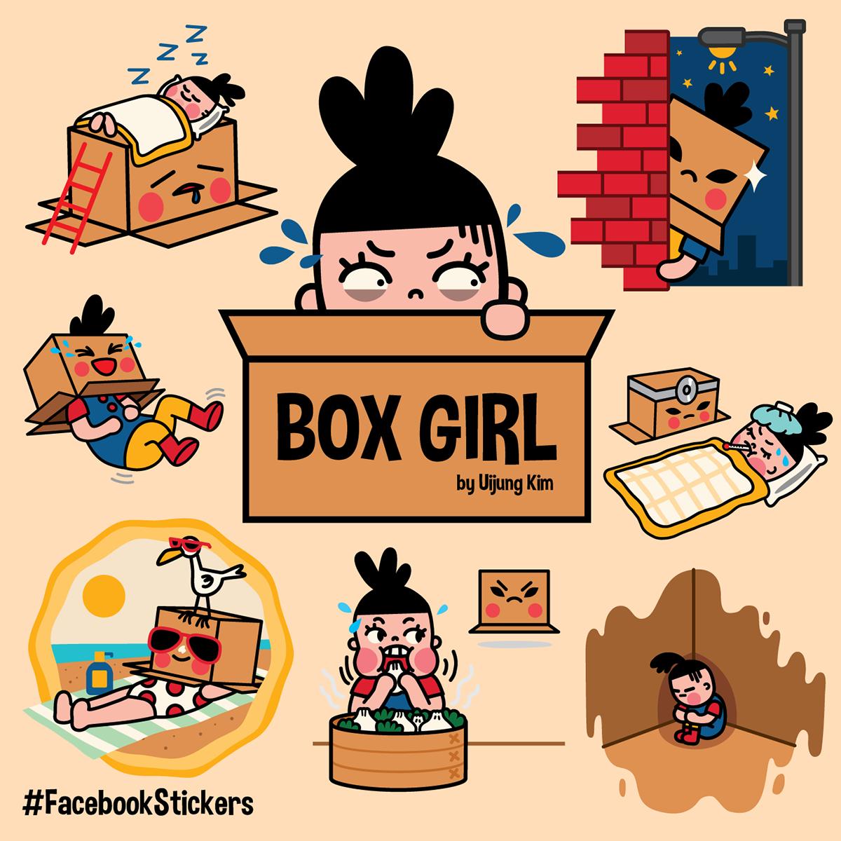 box girl facebook sticker set on ccs portfolios