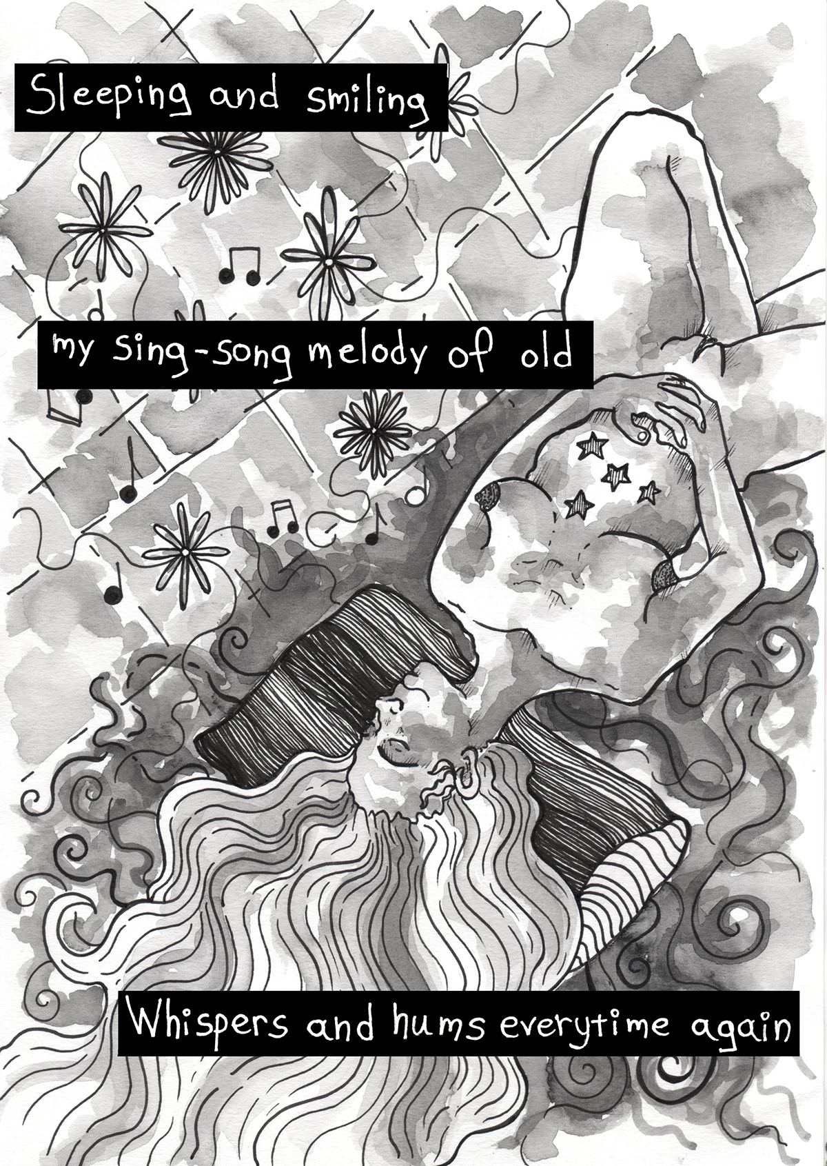 almost silver ILLUSTRATION  fanzine song illustration black and white greyscale KTAOABC