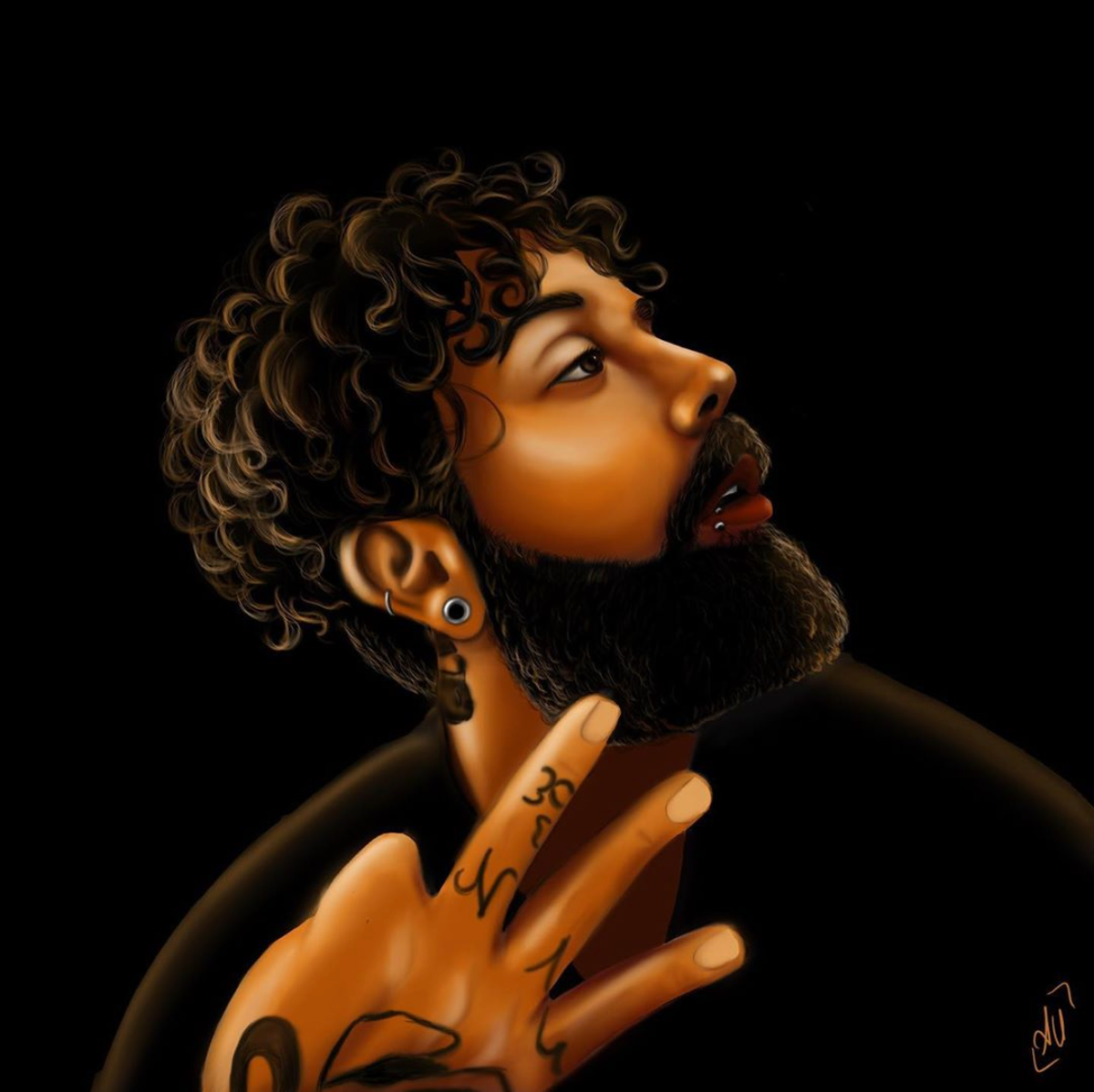 boy dark ILLUSTRATION  portrait tattoo