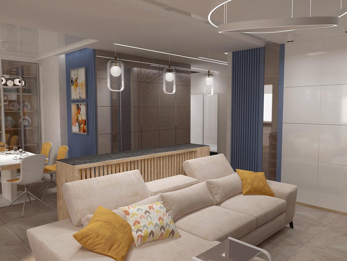 архитектура студия дизайна интерьер дизайнерское решение стиль гостиная   яркие акценты