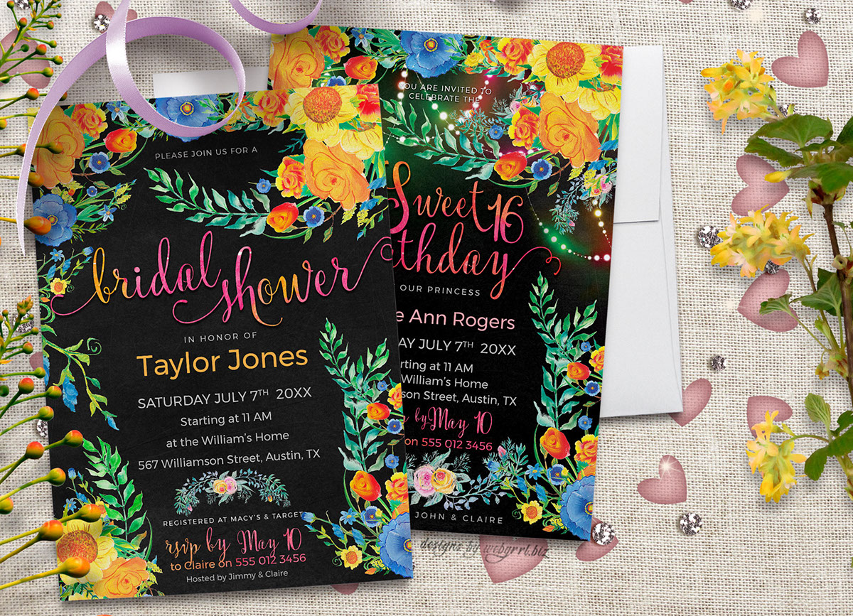 colorful floral invitations on pantone canvas gallery