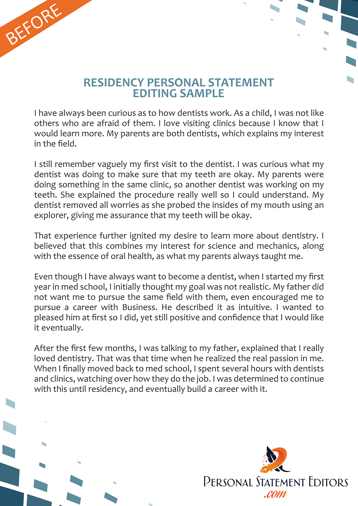 Residency Personal Statement Editing Before Sample