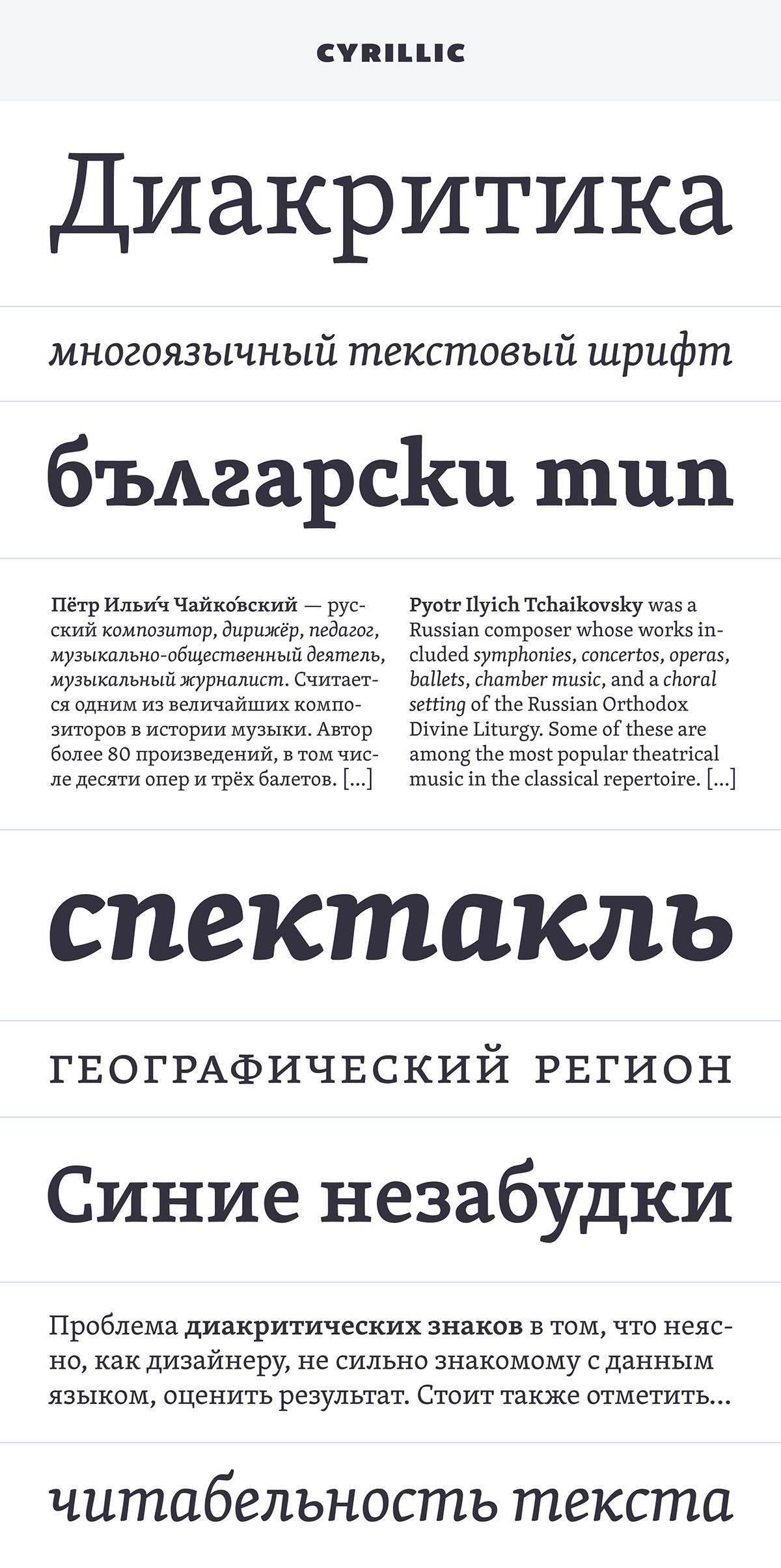 Typeface font David Březina rosetta type foundry book serif Publications editorial Czech Cyrlic greek