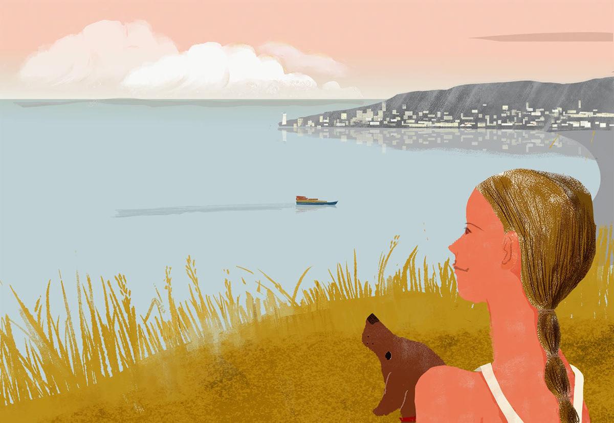 dog Evening girl Landscape Ocean painting   people sea SKY summer