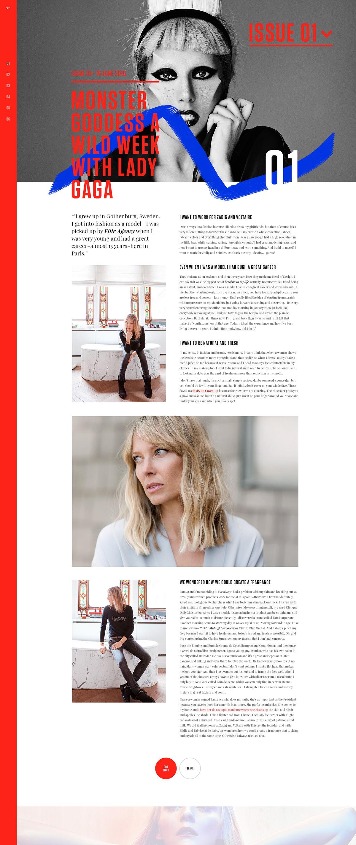 magazine editorial Web design big typography article Blog