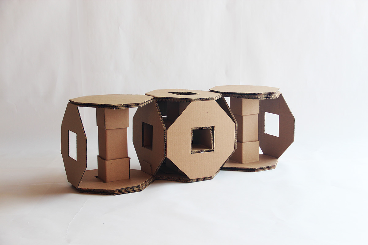 The Assignment Was To Make A Modular Cardboard Chair That Can Be  Reconfigured To Create At Least Three Different Chairs With Six Of The Same  Modules.