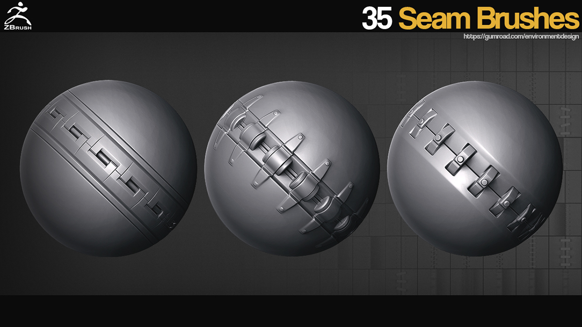 ZBrush - 35 Seam/Stitch Brushes on Behance
