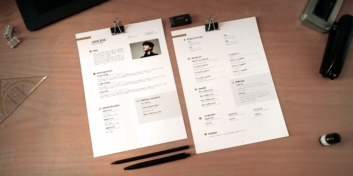 CV, resume, cover letter set v2 (word, psd, ai) on Behance