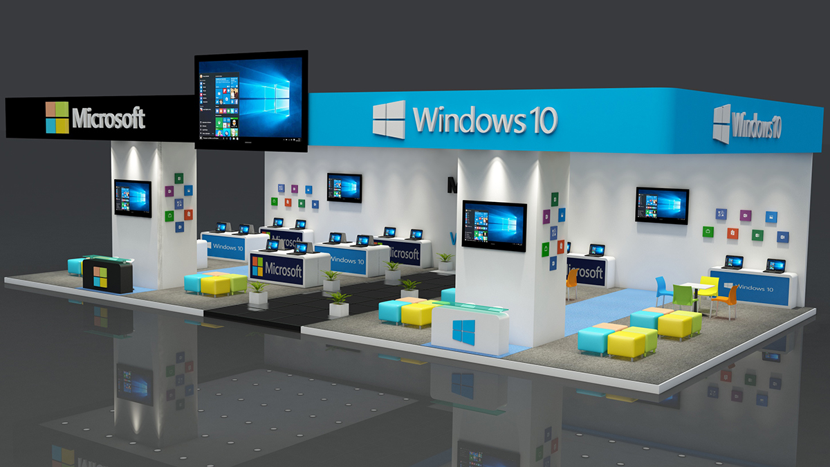 Exhibition Stand Vray : Microsoft exhibition stand made in d max vray on