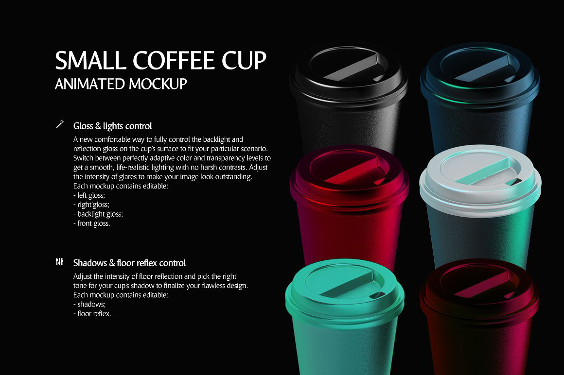 Small Coffee Cup Animated Mockup On Behance 2 Way Switch Animation 3d Render Of A Takeaway 8oz 240ml Isolated Customizable Background The Includes And Static Photorealistic