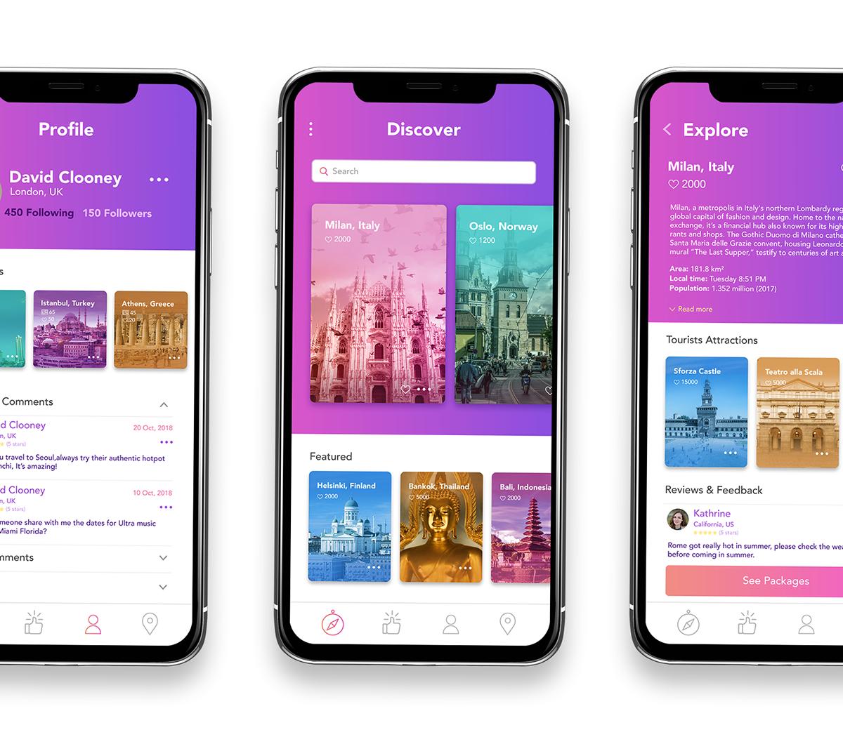 Discovr App UX/UI Design | iOS, Android on Wacom Gallery