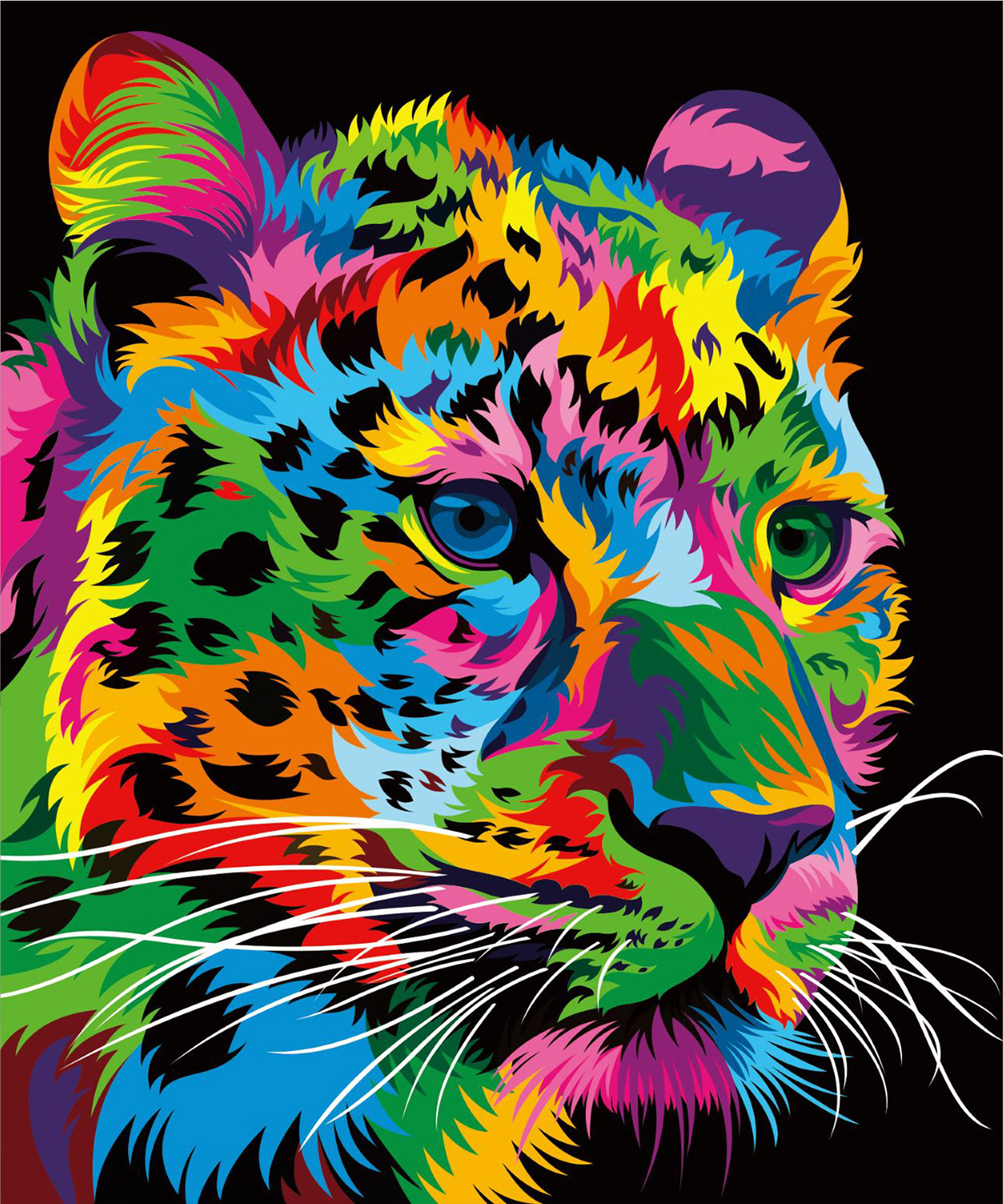 colorful animal vector colourful paint leon illustration numbers animals painting colores oil animales paintings leopard behance tiger cuadro pintar cuadros