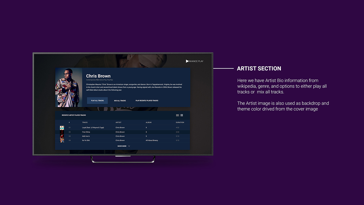 Ehance Play is an Android TV Music player app  Perfect on