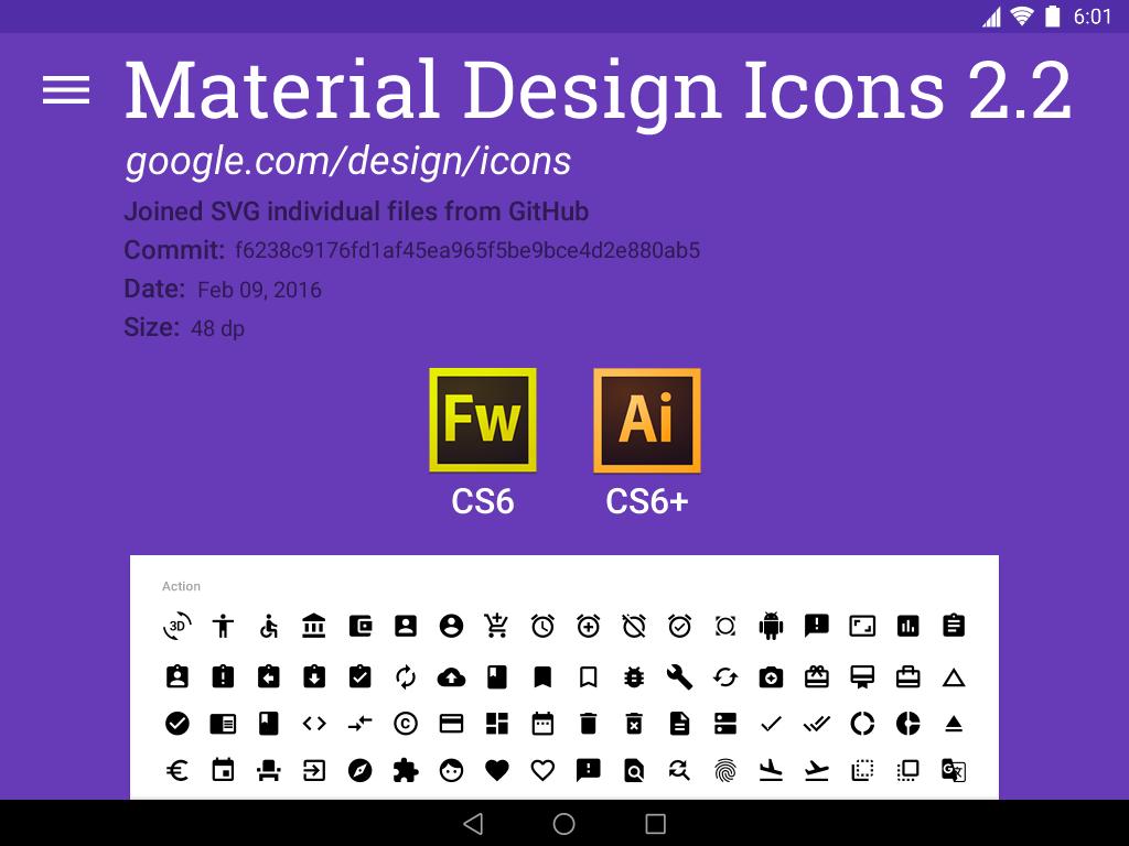 material google icons 2.2 fireworks Illustrator