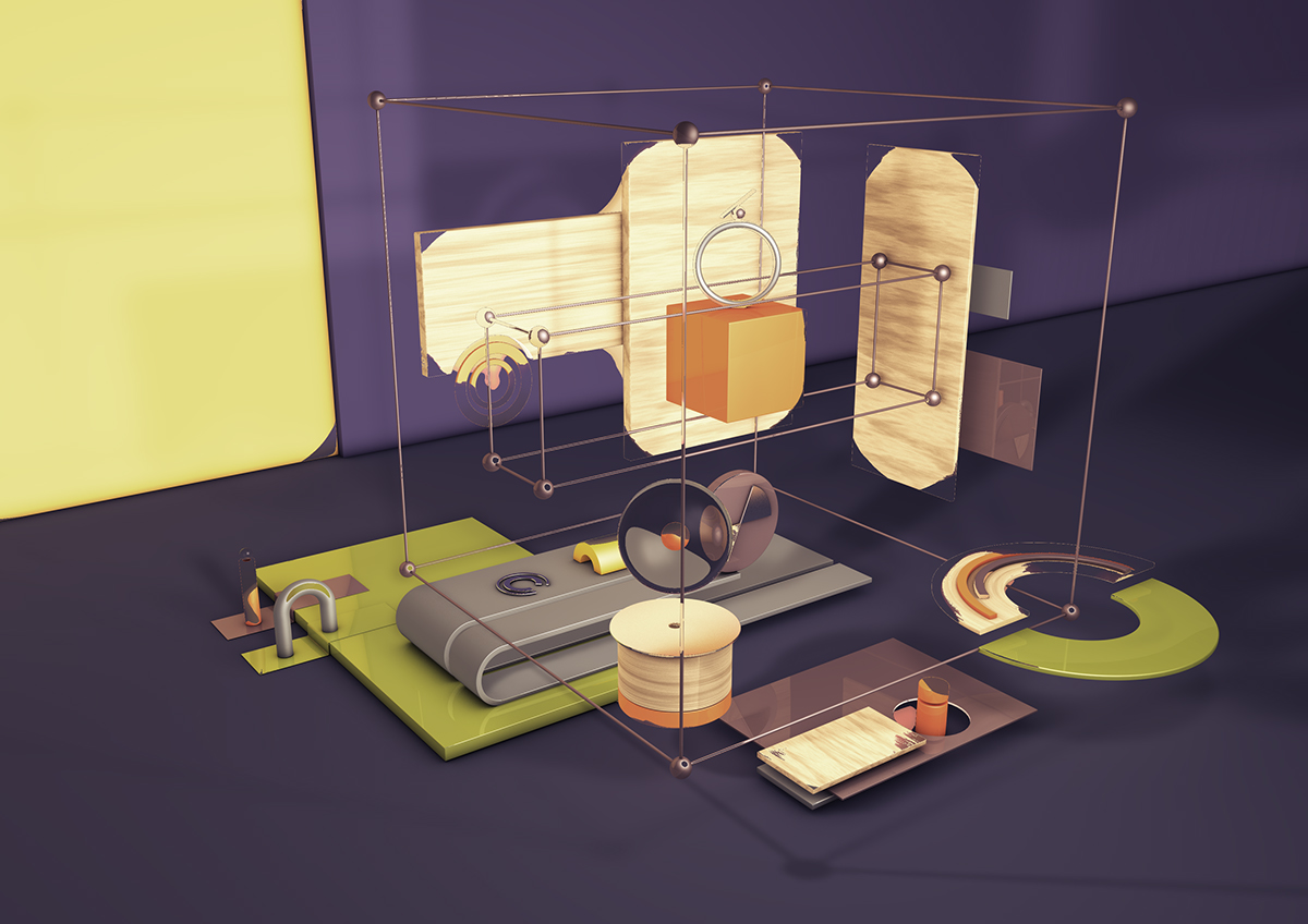 3D CGI art creative box design abstract Czech Playground c4d Render objects studio