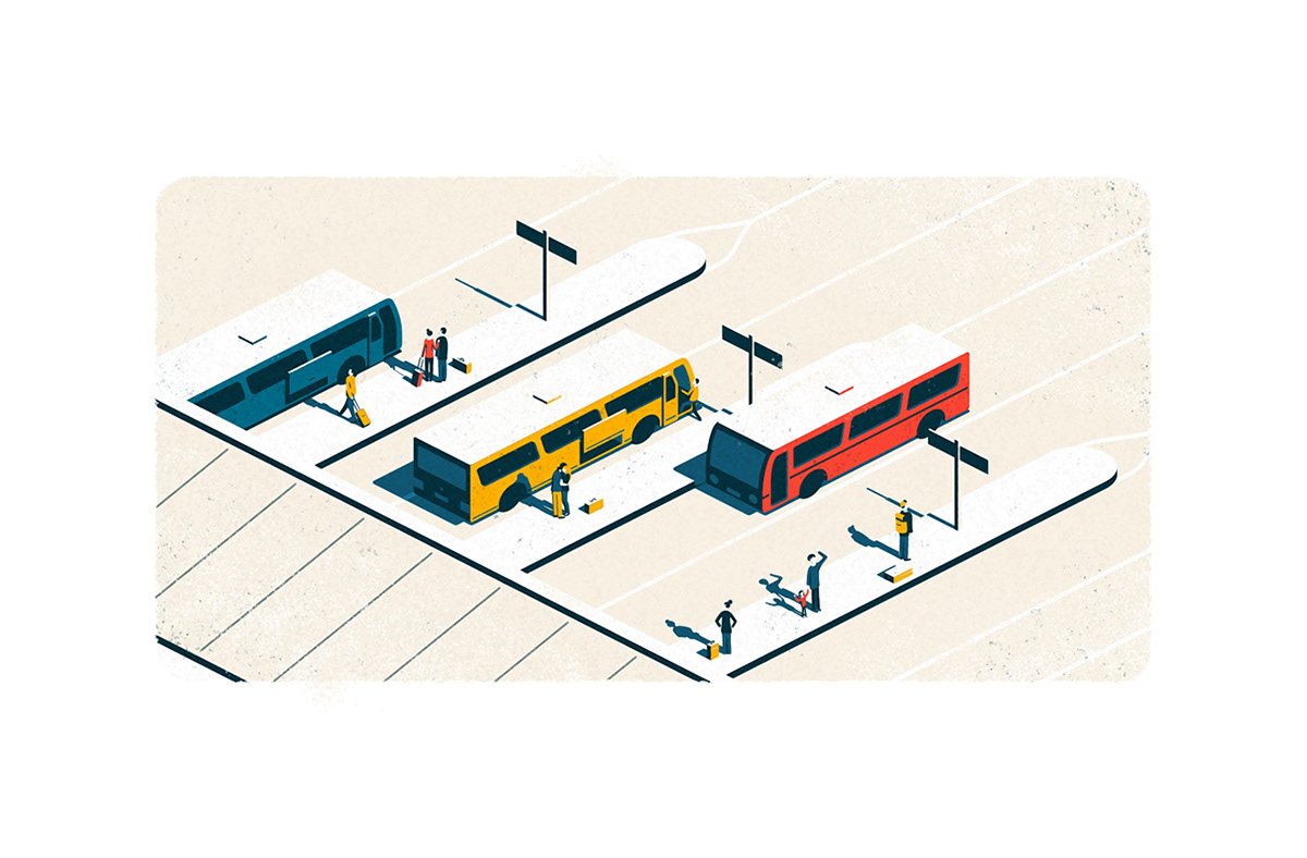 Isometric illustration showing buses at a bus station with people boarding a bus and saying Goodbye.