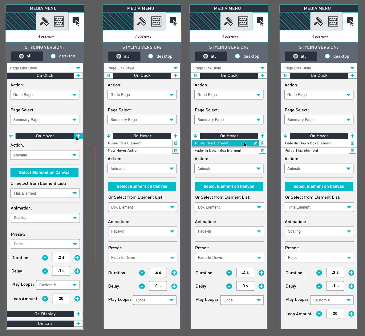 Website Bulder web app Readz If/Then Actions Input Configuration