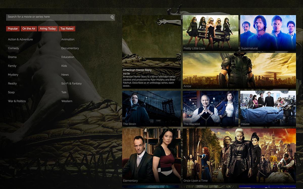 ElectronJs angularjs nodejs Movies Media Center media tv series tv series