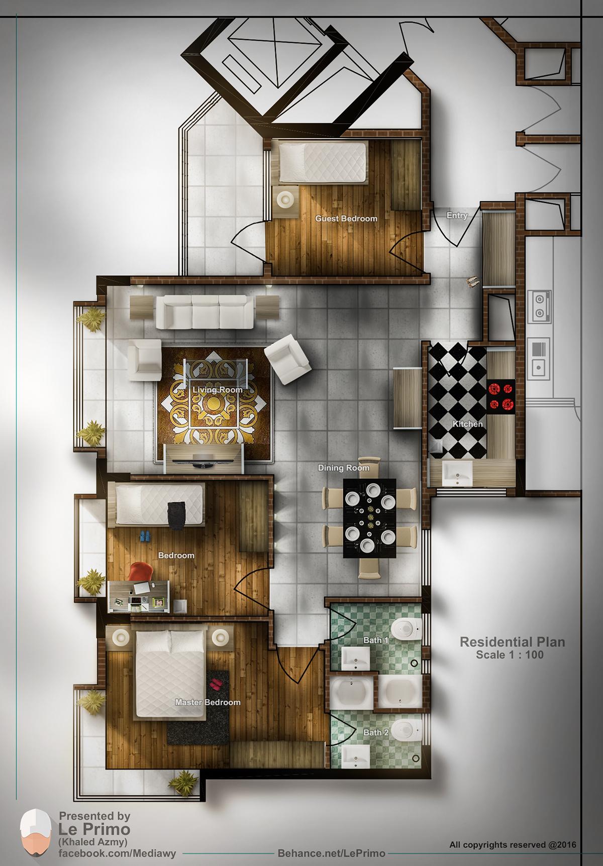 Residential plan Rendering on Behance