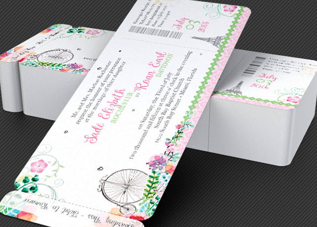 French Wedding Boarding Pass Invitation Template On Behance
