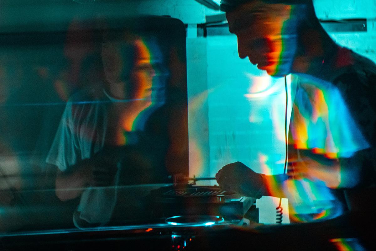 psychedelic neon techno music dj portrait