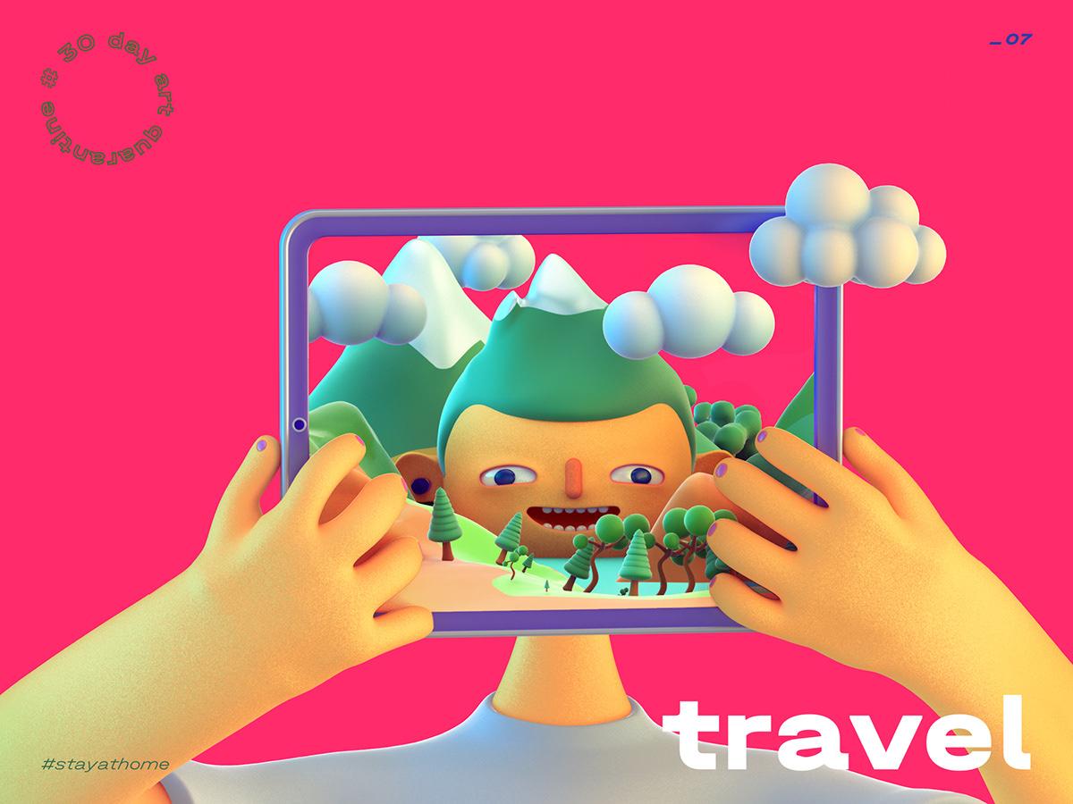 3d illustration cartoon travel mountain