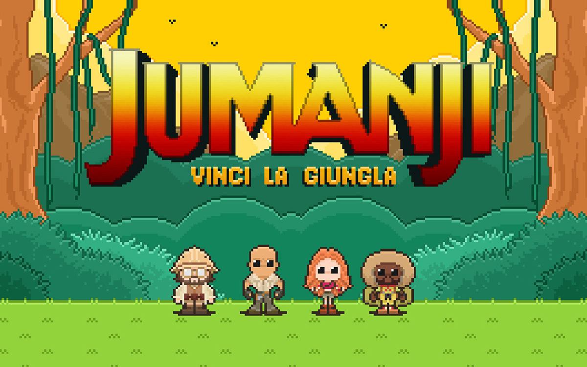 jumanji videogame pixelart adventure jungle retrogame theRock 2DAnimation app contest