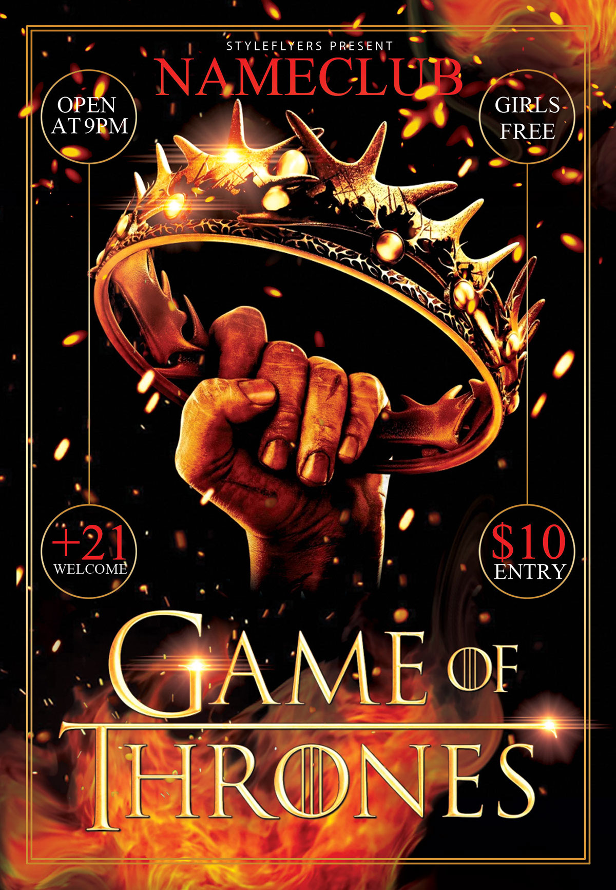 game of thrones party psd flyer template on behance