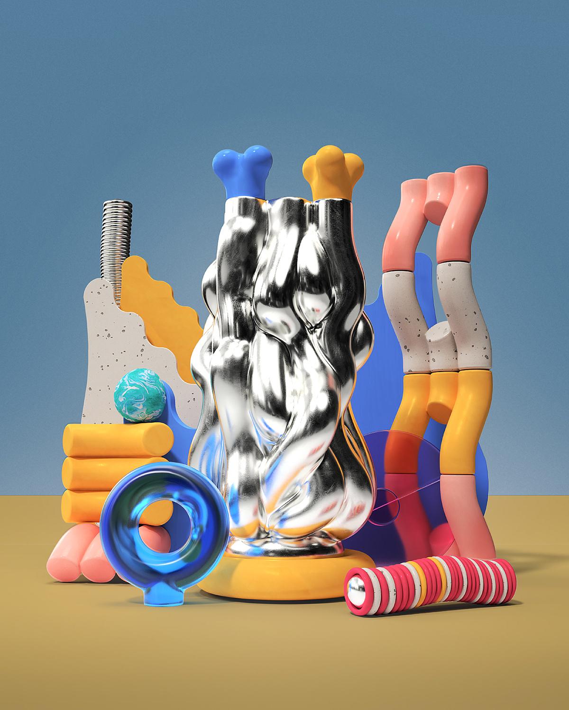 3D abstract ceramics  sculpture Totem