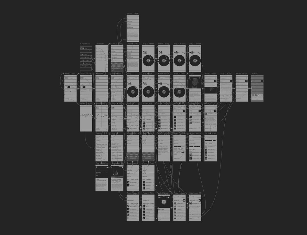 app music podcast interaction minimal UI/UX