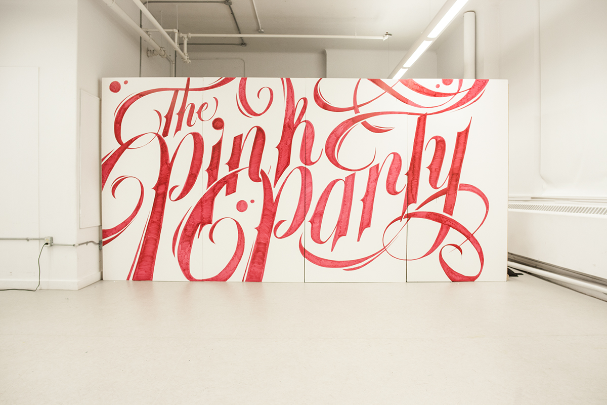 typographic mural the pink party on behance