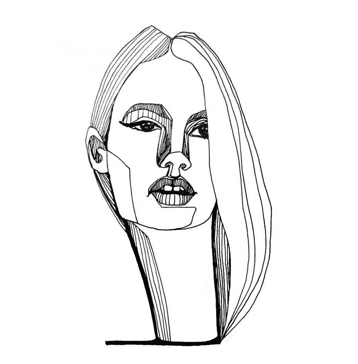 swanneck ink ILLUSTRATION  portrait line art sketches black and white stripes Swan Necks