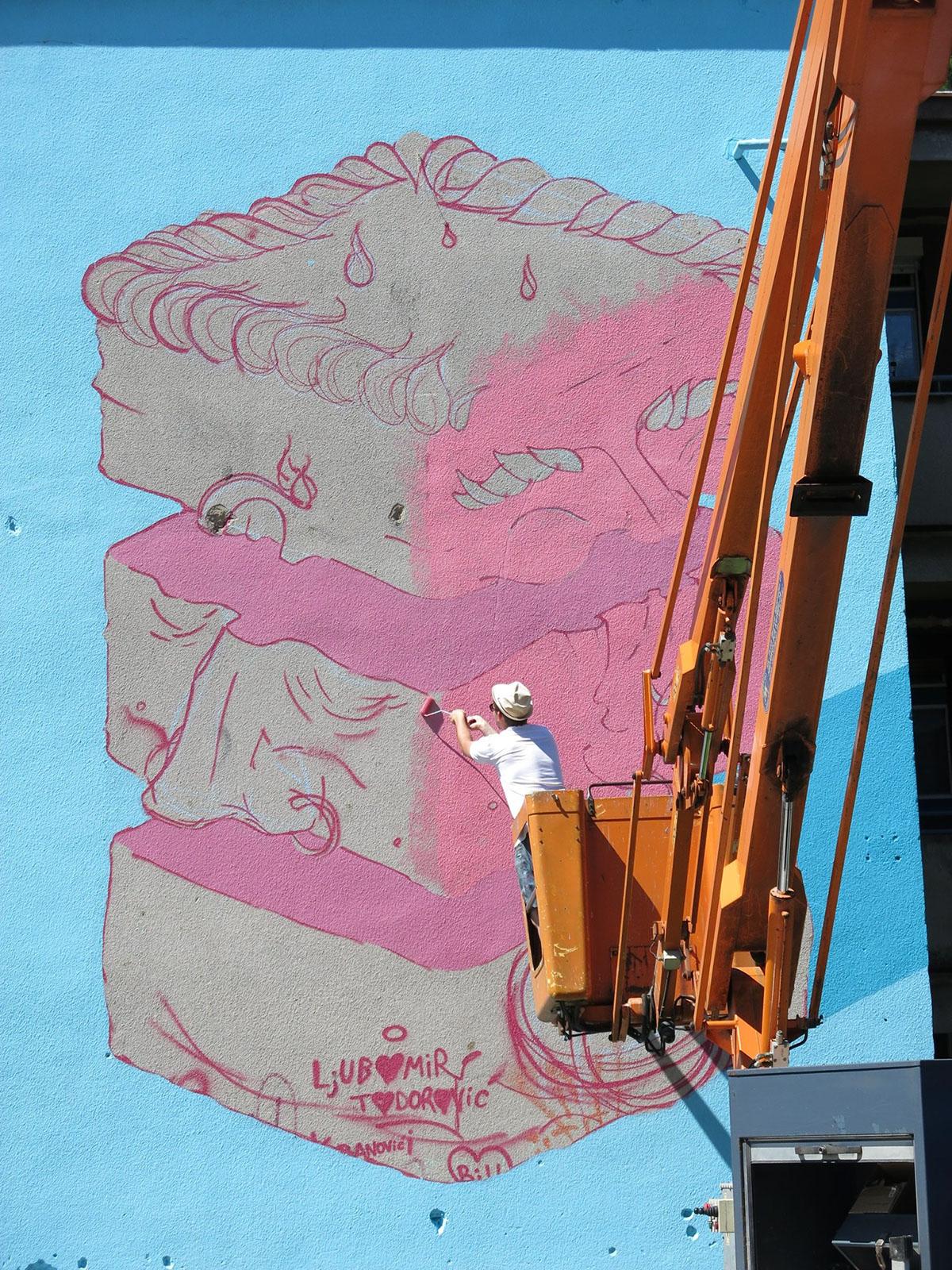 Mural Street art pink blue public building cartoon cake life