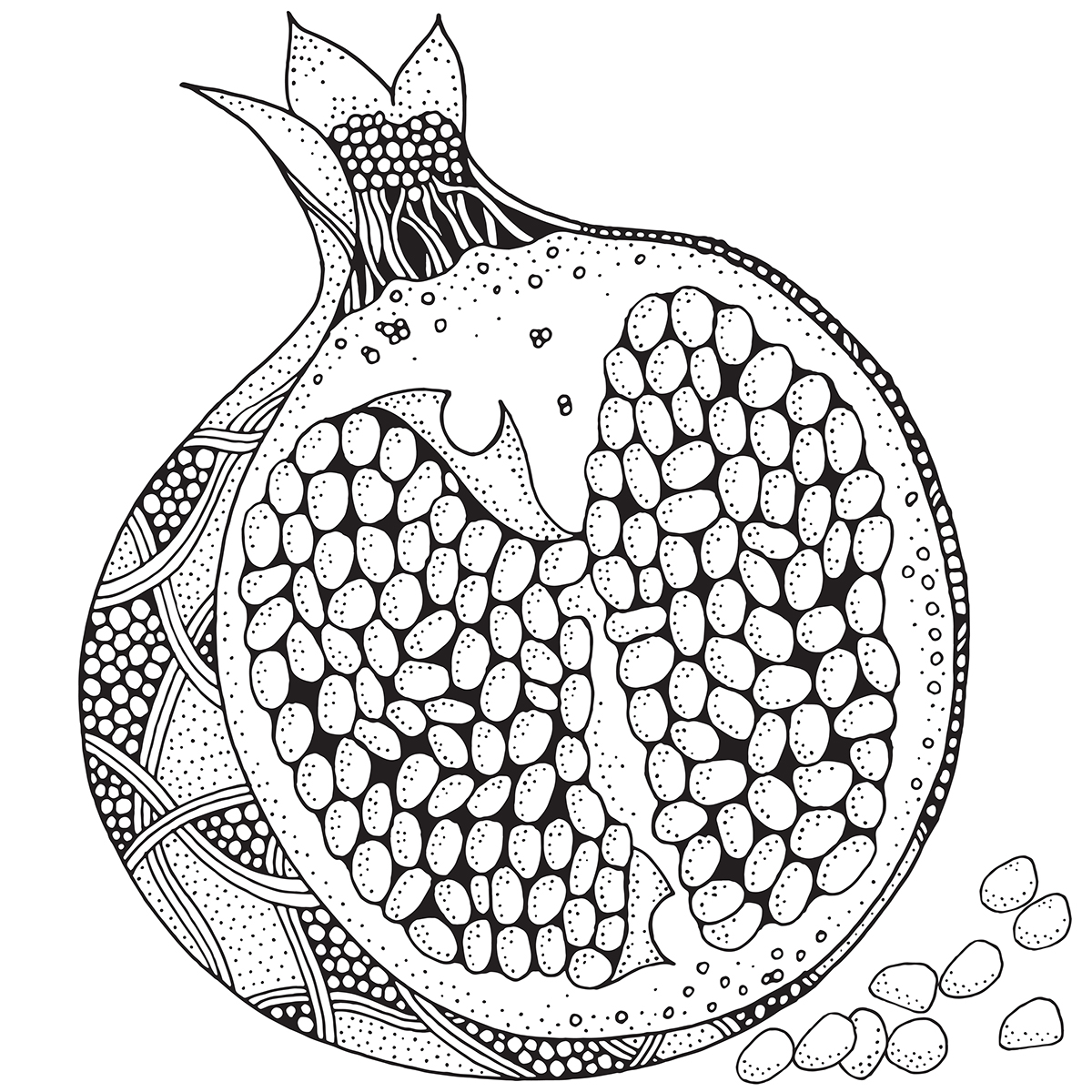 Zentangle fruit. Adult coloring book. on Behance