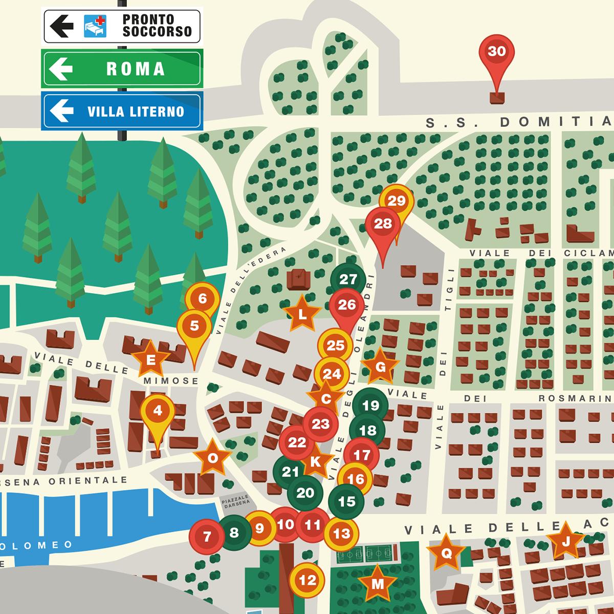 map vector print flat castel volturno pinetamare sea Sun city district billboard
