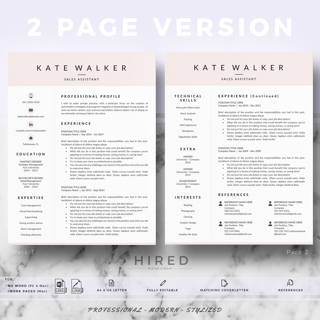 Professional resume template for Pages and Ms Word on Behance