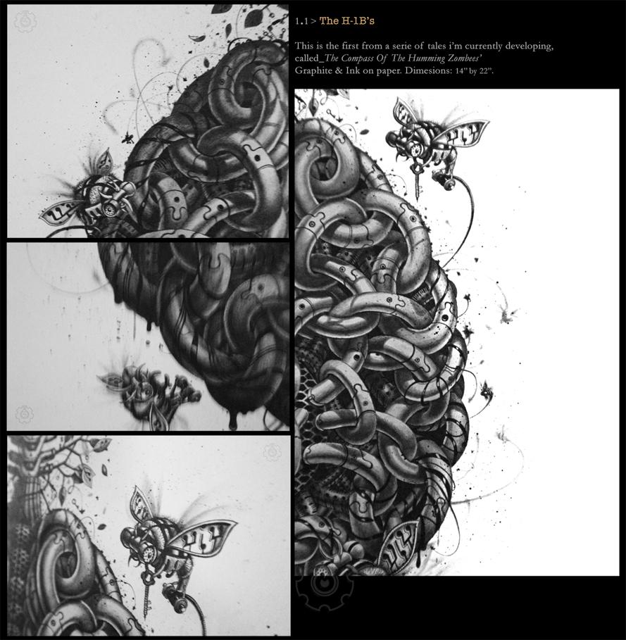 graphite Black&white bees behive brain surreal Samuel Gomez