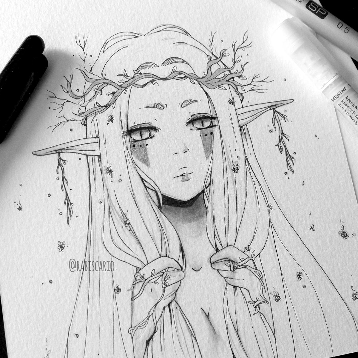 inktober inktober2016 ILLUSTRATION  ink traditional work elf Character design  Rabiscario mermaid Copic