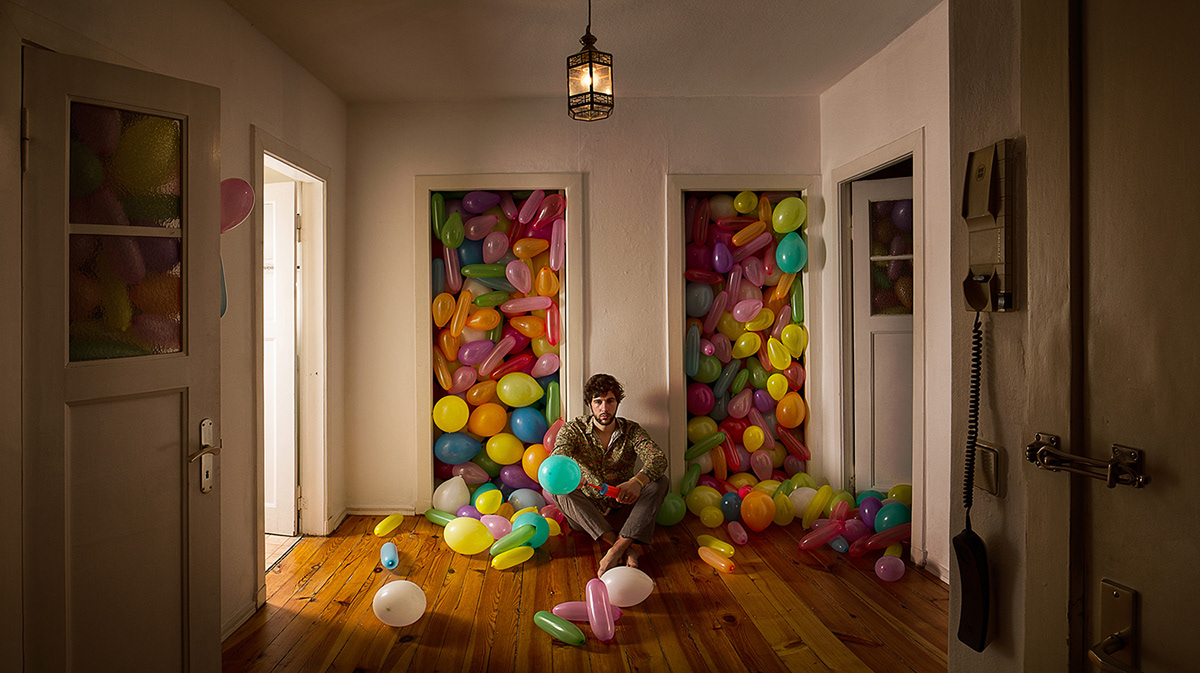 grown toys balloons bathduck rabbit mask soap bubbles Digital Art  cinematic lighting staged photography