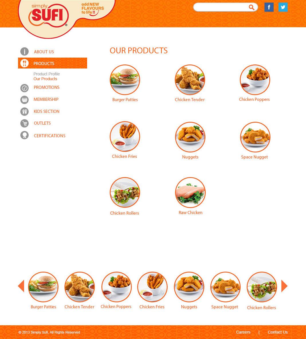 graphic design UI/UX Web site sufi simply Food