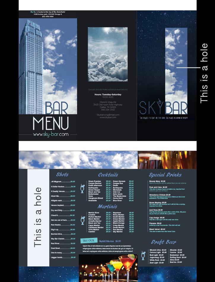 menu resteraunt brochure beer wine bar