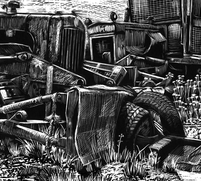 Detail of bulldozers scaperboard illustration